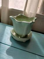 vintage MCCOY POTTERY vase, built in saucer, light blue green color, early, 4 in