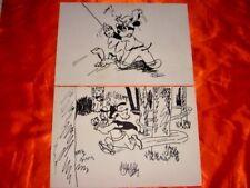 Free Hand Drawings, Disney Cartoon Characters Goofy and Mickey