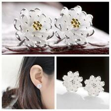 Cute Jewelry Flower Silver Plated Ear Studs Lotus Earrings