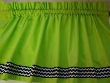 Lime Green with Black and White Chevron Border Valance Curtain Custom Made
