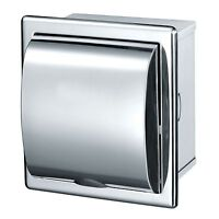 TOILET ROLL DISPENSER TISSUE HOLDER LOO RECESSED POLISHED STAINLESS BATHROOM