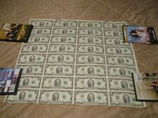1995 Uncut Sheet Of 32 $2 Bills Atlanta Currency Two Dollars Paper Money Notes