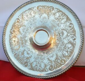 VINTAGE ETCHED WM ROGERS 866 SILVER-PLATE SERVING TRAY