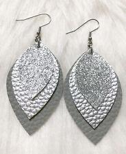 Gray / Silver Metallic / Silver Glitter  Faux Leather Earrings Triple Layer