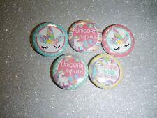 "5 Unicorn Squad Horse Rainbow Kawaii  1"" Pinback Button Pin Badge Set"