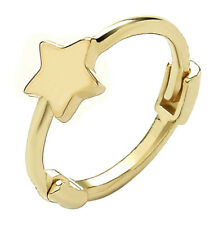 9CT HALLMARKED YELLOW GOLD  POLISHED STAR HINGED 10MM CARTILAGE HOOP HUGGIE