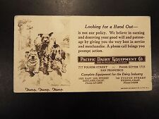Vintage Pacific Dairy Equipment Co. Advertising Blotter