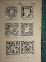 1845 Antik Architektur Aufdruck ~ Panel Denkmal Westminster Eltham Walsingham