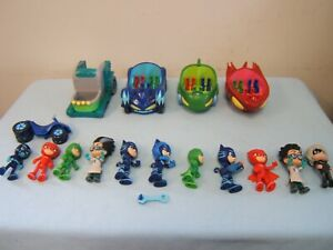16 Lot PJ Masks Vehicles & Action Figures Catboy Gekko Owlette Romeo Night Ninja