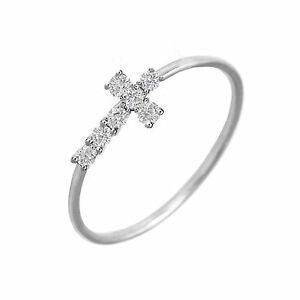 1/10ct Genuine Crucifix Diamonds Cross Ring 1mm Wire Band Knuckle 14k White Gold