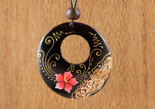 Beautiful Painted Wood Necklace Natural Dark Brown Boho Flower Ethnic Round Pink
