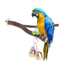 Parrots Birds Stand Holder Wood Tree Crotch Shelf Branch Perch Hanging Toys Bell