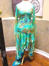 NWT SUE WONG SILK prom pageant formal occasion cocktail blue Asymmetric  Dress 6