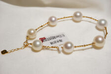 "7.5-8"" Stunning AAA+ 9-10mm natural South sea white round pearl bracelet 18k"