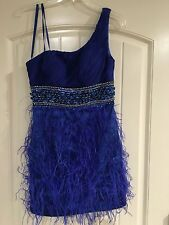 Dave & Johnny Royal Blue prom /cocktail dress with feathers and jewels -sz 3/4