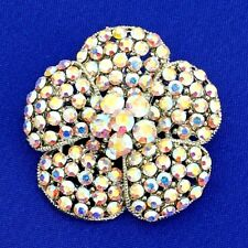 Flower Brooch Made With Swarovski Crystal Charm AB Color Wedding Pin Gift
