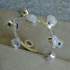 NATURAL RAINBOW MOONSTONE 925 STERLING SILVER ADJUSTABLE CUFF BRACELET 2.5""