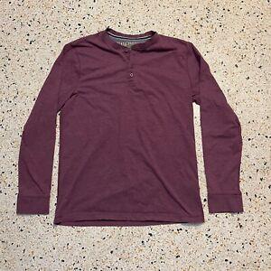 Weatherproof Vintage Shirt Mens Large Purple Henley Long Sleeve