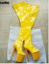 Womens Patent Leather Platform Over Knee Boots High Heel Pole Dance Shoes Queen