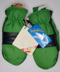 Vintage Retro Kombi Leather Palms Ski Mitten Gloves Size L Down Insulation