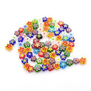 "1 Strand Handmade Millefiori Glass Flower Beads 10~12x4mm about 42pcs/strand 16"""