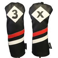 Majek Retro Golf #3 & X Fairway Wood Headcover Black Red White Leather Style