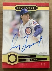 2021 Topps Five Star Baseball Greg Maddux On Card Auto 1/1 Chicago Cubs