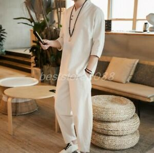 Mens Cotton linen 2-Piece suits Chinese plus size Grandpa Loose T shirts Pants
