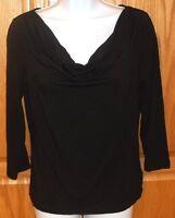 Womens LAUREN RALPH LAUREN~Cowl Neck BLACK BLOUSE~sz MEDIUM~NEW~Stretch Knit Top