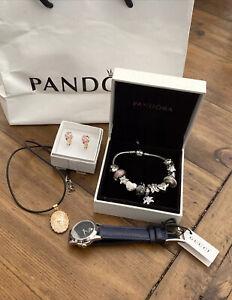 Pandora Bracelet 12 Charms Sterling Silver Bulk Genuine Rrp $800+ Watch Earrings