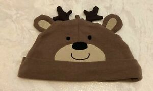 Carter's Baby Girls Boys 3 Month Brown Reindeer Deer Cap Hat Beanie Antlers