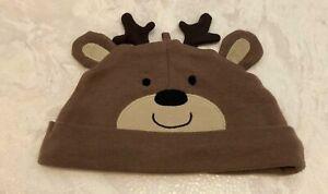 Carter's Baby Girls Boys 3 Month Brown Reindeer Deer Cap Hat Beanie Antlers
