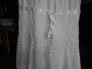 jupe jupon ancien blanc dentelle ruban satin