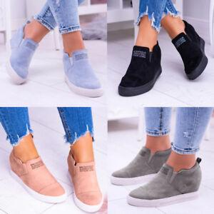 Women Ladies Casual Sneakers Slip On Pumps Shoes Wedge Heel Shoes Size 4-8.5