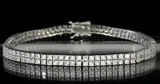 Bold 2 Row Lady's Tennis Bracelet White Gold Tone Round Cut CZ Luxury Bling 7.5""