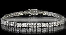 "Bold 2 Row Lady's Tennis Bracelet White Gold Tone Round Cut CZ Luxury Bling 7.5"""