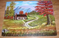 VINTAGE VIBRANT AUTUMN FALL FOLIAGE PIONEER CABIN GARDEN MOUNTAINS OIL PAINTING