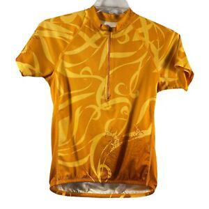 Cannondale womens shirt S pockets, graphic orange zip elastic bike cycling