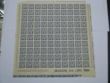 Italy Fiscal Revenue Stamp Sheet of 100 Lira 9.50 Social Security Insurance