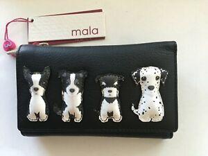 Mala Best Friend sitting dog black leather purse RFID picture dogs purse