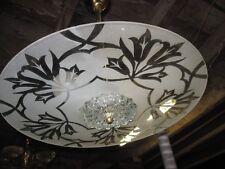Lustre vintage cristal dépoli et laiton design années 60 70