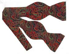 (1) BOW TIE - CHRISTMAS PAISLEY - RED & GREEN PAISLEY W/ A HINT OF METALLIC GOLD
