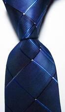 New Classic Geometric Navy Blue White JACQUARD WOVEN 100% Silk Men's Tie Necktie
