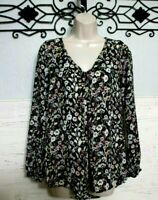 Women's Lauren Conrad Top Size XS Multicolored Floral  Long Sleeve Blouse