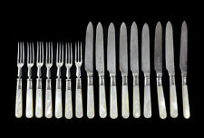 16pc William Hutton & Sons Anezin Silverplate Mother of Pearl Fruit Forks Knives