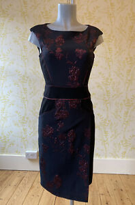 PHASE EIGHT black textured floral accent pencil dress UK 8 mock wrap skirt