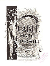 CABLE MARCH & TWO STEP Music Sheet-1903-LEW DOCKSTADER-CABLE PIANO/ORGAN CO. AD