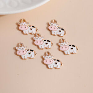 Enamel Milk Cows Charms Jewelry Making DIY Charms Necklaces Pendants X-mas Gift