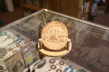 handmade brown nautical wood coaster set with lighthouse designs