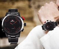 Men Watch Luxury Army Sport Leather Wrist Watch Waterproof Analog Quartz Watches